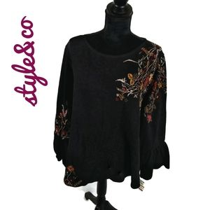 NWT plus size  Boho remix bell sleeve top